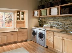 Modern rustic laundry room & lots & lots of other laundry room ideas & suggestions!