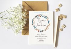 Printable Watercolour Feather Baby Blessing Invitation or Christening invitation  in pretty boho style. Unisex design.   Beautiful water color feather illustrations in blue... #invitations #feathers #watercolor