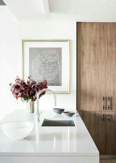 minimalist kitchen with wood accent