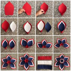 Here is the picture tutorial I just made ❤️💙❤️💙❤️💙 using template number 8 😍 Paper Flowers Craft, Crepe Paper Flowers, Paper Roses, Flower Crafts, Diy Flowers, Fabric Flowers, Paper Crafts, Fourth Of July Decor, 4th Of July Decorations
