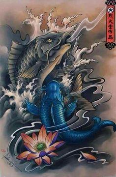 Pez Koi Tattoo, Koi Tattoo Sleeve, Koi Dragon Tattoo, Carp Tattoo, Japanese Drawings, Japanese Tattoo Art, Japanese Tattoo Designs, Japanese Sleeve Tattoos, Japanese Art