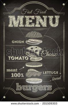 Burger Menu Poster on Chalkboard. Hamburger Ingredients. Vector Illustration. - stock vector