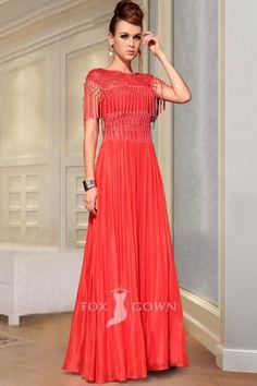 dresses · designer red boat neck cap sleeve tassel lace bodice a-line long  formal dress Cheap 51e6f867ad1c