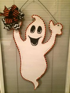 HALLOWEEN GHOST  Door Hanger by FancysDoorDecor on Etsy