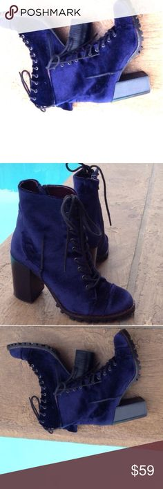 🔥NAVY CRUSHED VELVET LACE UP BOOTIES🔥 🔥NAVY CRUSHED VELVET LACE UP BOOTIES🔥 PLEASE SEE DESCRIPTION ABOVE☝🏻️😘❤️🔥 Report Signature Shoes