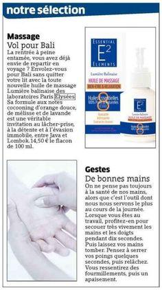 """Massage, vol pour Bali - dans les journaux """"L'Est Républicain"""" et """"Vosges Matin"""" (Oct.2014) - En Français."""