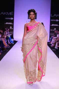 Mandira Bedi Lakme Fashion Week Summer 2014 hot pink and cream ivory sari