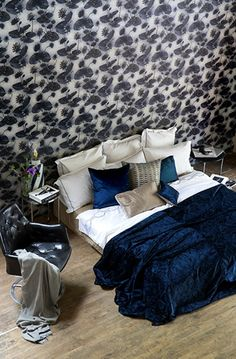 The wallpaper Lotus Lake Deep - from Mimou is a wallpaper with the dimensions x m. The wallpaper Lotus Lake Deep - belongs to the popula How To Dress A Bed, A N Wallpaper, Swedish Brands, Sustainability, Lotus, Cushions, Deep, Bedroom, Luxury