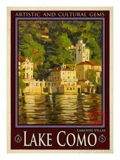 Vintage Poster Giclee Print: Lake Como Italy Art Print by Anna Siena : - size: Giclee Print: Lake Como Italy Art Print by Anna Siena : Travel Old Poster, Retro Poster, Vintage Art Prints, Vintage Travel Posters, Lake Como Italy, Italian Posters, Italian Lakes, Travel Ads, Kunst Poster