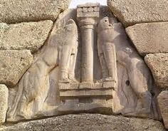 """MYCENAEAN: Lion Gate-depicts two large muscular lions flanking a column over a gateway is notable for its bold, militaristic style & first known monumental (cyclopean masonry) stone sculpture in early """"Greek"""" Art. Mycenaean, Minoan, Ancient Symbols Of Power, Lions Gate, Creta, Stone Masonry, Greek Art, Stone Sculpture, Bronze Age"""