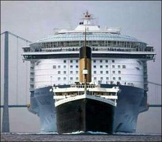 The Titanic compared to a modern day cruise ship.
