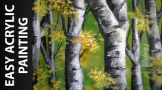 How to Paint a Forest of Birch Trees with Acrylics for Beginners Acrylic Painting For Beginners, Acrylic Painting Tutorials, Beginner Painting, Painting Videos, Painting Lessons, Acrylic Painting Canvas, Forest Landscape, Abstract Landscape, Landscape Paintings