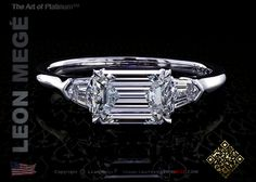 East-west custom engagement ring with 1.30 carat emerald cut diamond by Leon Megé