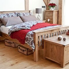 The wood's texture and bedding colors speak for themselves