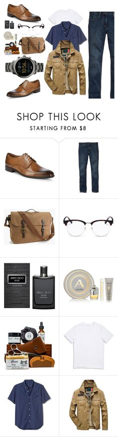 """""""His Style"""" by desrosea ❤ liked on Polyvore featuring Massimo Matteo, Gap, J.Crew, Yves Saint Laurent, Jimmy Choo, Azzaro, 1670 HBC, FOSSIL, men's fashion and menswear"""