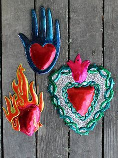 """ON SALE!! """"As Is"""" - Tin Milagros heart - Mexico - Small Paint Loss ONE PRICE LOT"""