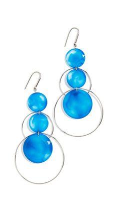 Isabel Marant Resin Earrings. Resin spheres. Brass. French hook closure. Linear drop silhouette #earrings #resin #blue #ad #blue
