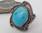 Big Turquoise Sterling Silver Ring, Native American Jewelry, Silver & Turquoise Jewelry, American Indian Ring, Vintage Southwestern Jewelry