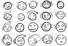 20 Hand Drawn Faces  #GraphicRiver         20 funny handrawn Faces  	 .eps file  	 Have FUN !     Created: 23January12 GraphicsFilesIncluded: VectorEPS Layered: No MinimumAdobeCSVersion: CS Tags: drawn #faces #fun #funny #hand #happy #illustrator #laughing #smile #smiley #smilies #vector