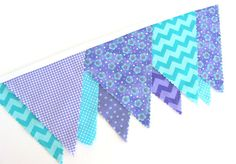 Bunting Banner in Aqua Blue, Turquoise, Lavender Purple Lilac Chevron Pennant Flag Garland, Photo Prop, Wedding Decoration, 9 Flags on Etsy, $27.00