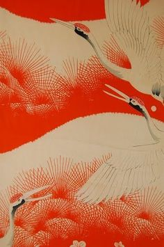 VINTAGE SILK KIMONO FABRIC: Dynamic Flying Crane