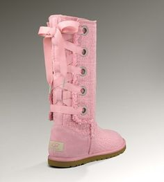 New UGG Australia Heirloom Lace Up Spring Boots Light Pink Peach | eBay.  I love these in Pink....