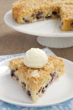 This simple, sweet cake is packed with fresh blueberries and topped with toasty coconut. - Bake or Break