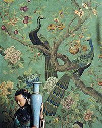 century hand-painted Chinese wallpaper, François-Joseph Graf, an apartment in Paris Et Wallpaper, Chinese Wallpaper, Chinoiserie Wallpaper, Chinoiserie Chic, Peacock Wallpaper, Wall Murals, Wall Art, Asian Decor, Designer Wallpaper