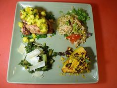 Chicken with mango salsa, acorn squash, cous cous, and swiss chard! YUM