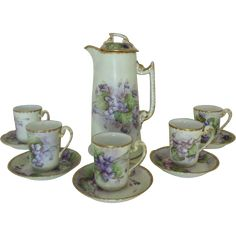 Antique 19c Victorian French Limoges T & V Hand-Painted Violets Porcelain Tea / Chocolate Set Pot w/ 5 Cups & Saucers Flowers Floral Artist Signed & Dated 1905 France