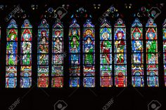 Stained Glass Windows Inside The Notre Dame Cathedral, Paris ...