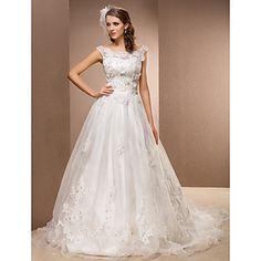A-line Plus Sizes Wedding Dress - Ivory Chapel Train Scoop Organza/Lace – USD $ 249.99
