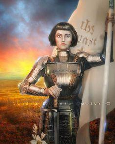 Saint Joan of Arc Catholic Art, Religious Art, by Sandra Lubreto Dettori Joan D Arc, Saint Joan Of Arc, St Joan, Catholic Art, Roman Catholic, Religious Gifts, Religious Art, 8x10 Photo Frames, Jeanne D'arc