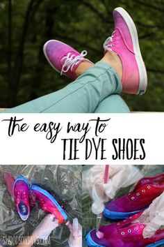 Follow this fun summer craft tutorial and see the easy way to tie dye shoes! Make hip ombre diy shoes to wear with summer dresses this year, follow this tie dye tutorial with photos and video. Great way to makeover old shoes, too! #tiedye #ad