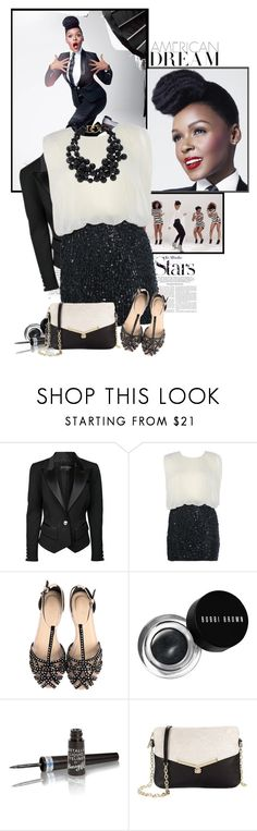 """""""Janelle"""" by jugica ❤ liked on Polyvore featuring Karl Lagerfeld, COVERGIRL, Balmain, AX Paris, Bobbi Brown Cosmetics, Barry M, Botkier and Kenneth Jay Lane"""