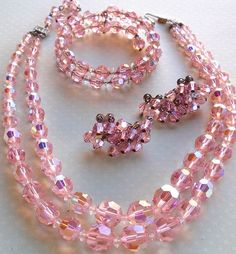 Pink Aurora Borealis Crystal Bead Necklace by RoseCottageVintage