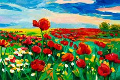 a painting of red poppy flowers