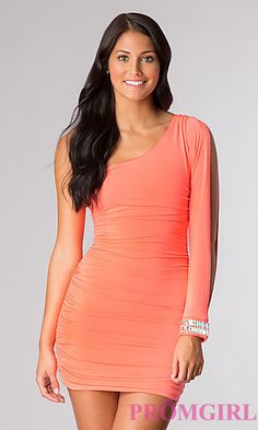 Short One Sleeve Ruched Dress at PromGirl.com #promgirl #homecoming #circus
