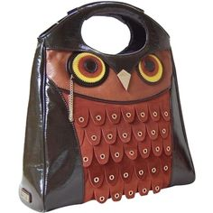 Pre-owned Kate Spade Maximillian Owl Leather Brown Tote Bag ($190) ❤ liked on Polyvore featuring bags, handbags, tote bags, brown, red leather handbag, brown leather tote bag, brown leather purse, brown leather tote and owl tote bag