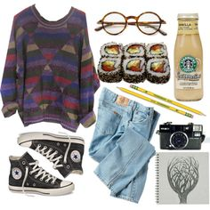 Grunge Weather by emc1397 on Polyvore featuring mode, Dickies, Converse, Tom Ford, Dixon Ticonderoga, Jura, Sweater, grunge, jeans and sushi