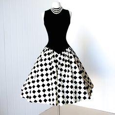 vintage 1950's dress ...stunning MR. MORT princess seamed wool bodice checkered flocked velvet full skirt pin-up cocktail dress.