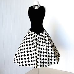 vintage 1950's dress ...stunning MR. MORT princess seamed wool bodice checkered flocked velvet full skirt pin-up cocktail dress.
