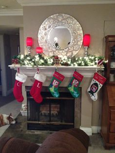 Xmas mantel with curtain rod for stockings
