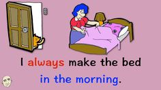 In this video, you will learn actions we do in the morning. Each sentence has an illustration to help you understand the meaning. In the second half of this . English Phonics, English Sentences, English Grammar, Teaching English, English Language, Learn English By Story, Esl, English Speaking Practice, Simple Present Tense