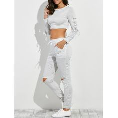 19.2$  Buy now - http://di28q.justgood.pw/go.php?t=204188108 - Lace-Up Crop Tee with Jogger Pants 19.2$