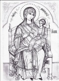 Christ and Theotokos. Sketches, Byzantine Art, Drawings, Paint Icon, Orthodox Christian Icons, Line Drawing, African Art, Christian Art, Art Icon