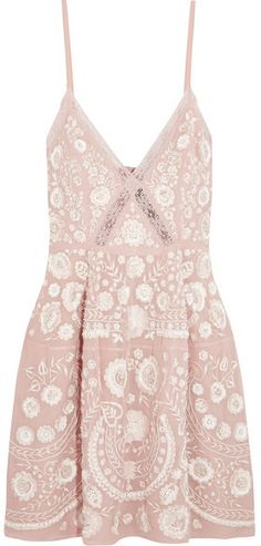 Needle & Thread - Crochet-trimmed Embellished Embroidered Crepe Mini Dress - Pink