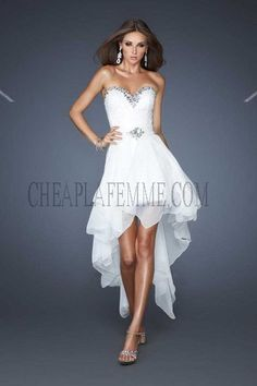 White Removable High Low Strapless LF18979 Prom Dress