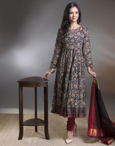 Cotton Kalamkari Awadh Neck Tiered Long Kurta