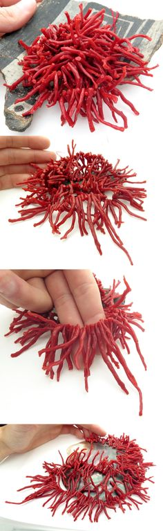 Coral 110793: Wild Branch Italian Mediterranean Blood Red Coral Beads Aaaaa 19.5 Strand BUY IT NOW ONLY: $88.0